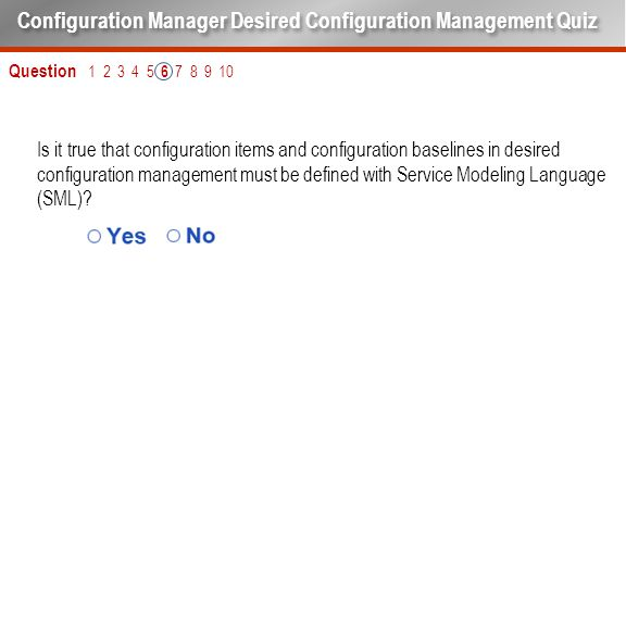 Is it true that configuration items and configuration baselines in desired configuration management must be defined with Service Modeling Language (SM
