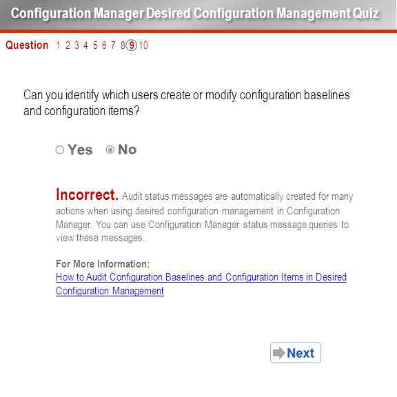 Question 1 2 3 4 5 6 7 8 9 10 Can you identify which users create or modify configuration baselines and configuration items? Configuration Manager Des