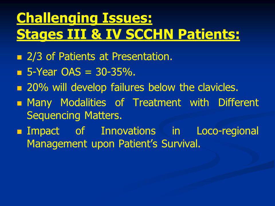Treatment Modalities in SCCHN CTRT alonePalliation RT + CT Early stage Locally advanced Recurrent and/or metastatic Refractory Surgery