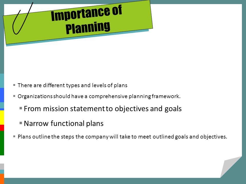 Importance of Planning There are different types and levels of plans Organizations should have a comprehensive planning framework. From mission statem