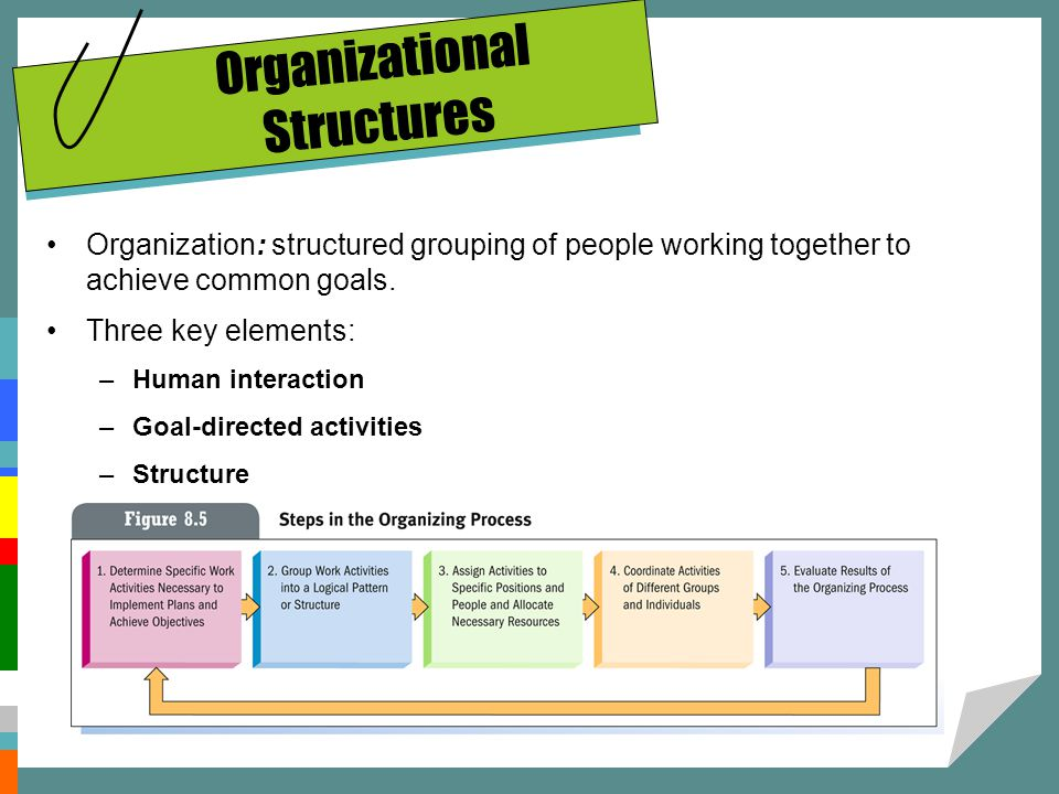 Organizational Structures Organization: structured grouping of people working together to achieve common goals. Three key elements: –Human interaction
