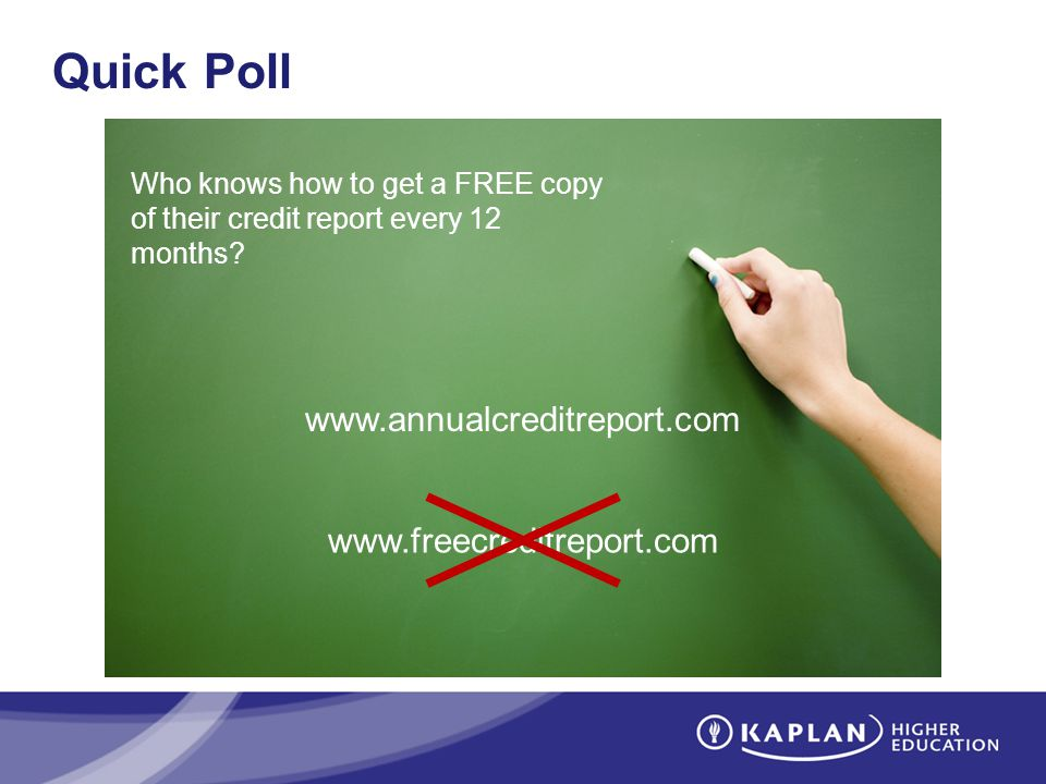 Quick Poll Who knows how to get a FREE copy of their credit report every 12 months.