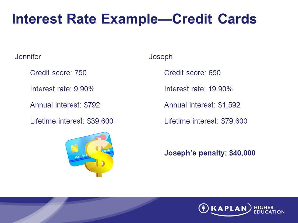 Interest Rate ExampleCredit Cards Jennifer Credit score: 750 Interest rate: 9.90% Annual interest: $792 Lifetime interest: $39,600 Joseph Credit score