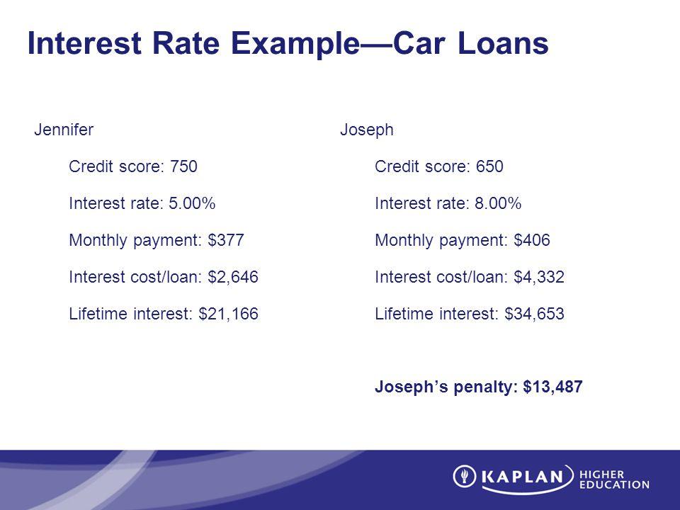 Interest Rate ExampleCar Loans Jennifer Credit score: 750 Interest rate: 5.00% Monthly payment: $377 Interest cost/loan: $2,646 Lifetime interest: $21