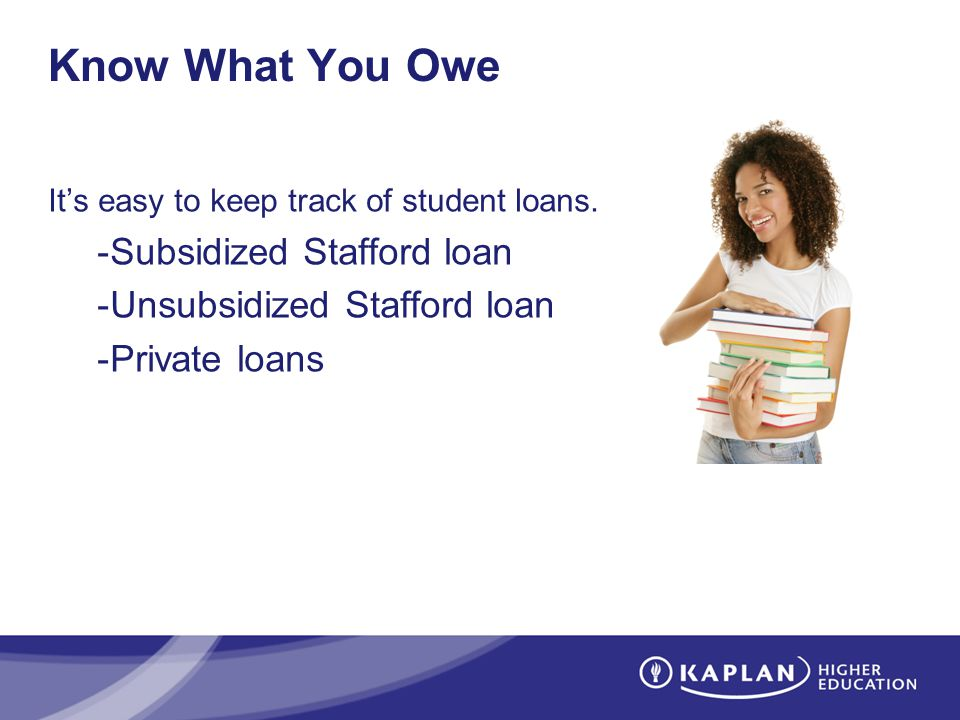 Know What You Owe Its easy to keep track of student loans. -Subsidized Stafford loan -Unsubsidized Stafford loan -Private loans