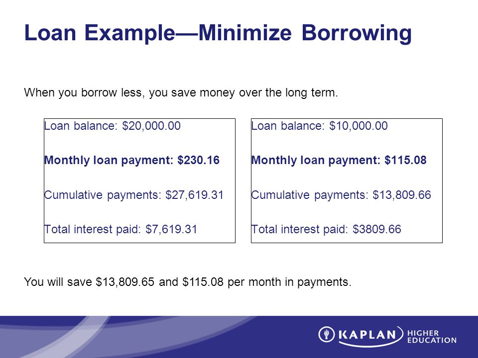 Loan ExampleMinimize Borrowing Loan balance: $20,000.00 Monthly loan payment: $230.16 Cumulative payments: $27,619.31 Total interest paid: $7,619.31 You will save $13,809.65 and $115.08 per month in payments.