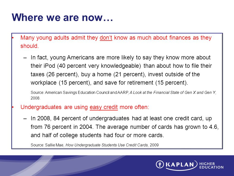 Where we are now… Many young adults admit they dont know as much about finances as they should. –In fact, young Americans are more likely to say they