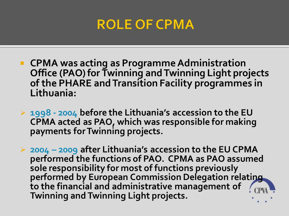 There were contracted totally 125 Twinning projects in Lithuania: 85 Twinning projects and 40 Twinning Light projects.
