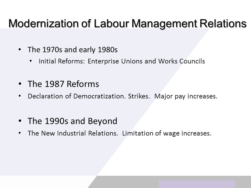 Modernization of Labour Management Relations The 1970s and early 1980s Initial Reforms: Enterprise Unions and Works Councils The 1987 Reforms Declaration of Democratization.
