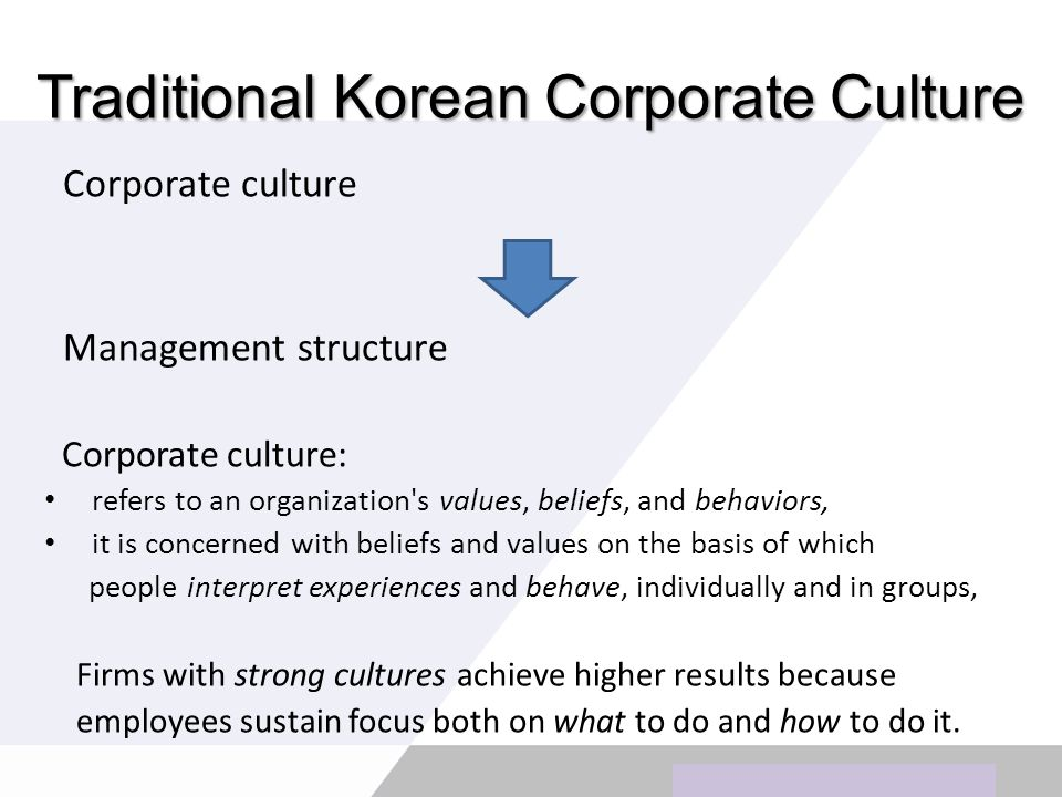 Copyright © Wondershare Software Traditional Korean Corporate Culture Corporate culture Management structure Corporate culture: refers to an organization s values, beliefs, and behaviors, it is concerned with beliefs and values on the basis of which people interpret experiences and behave, individually and in groups, Firms with strong cultures achieve higher results because employees sustain focus both on what to do and how to do it.