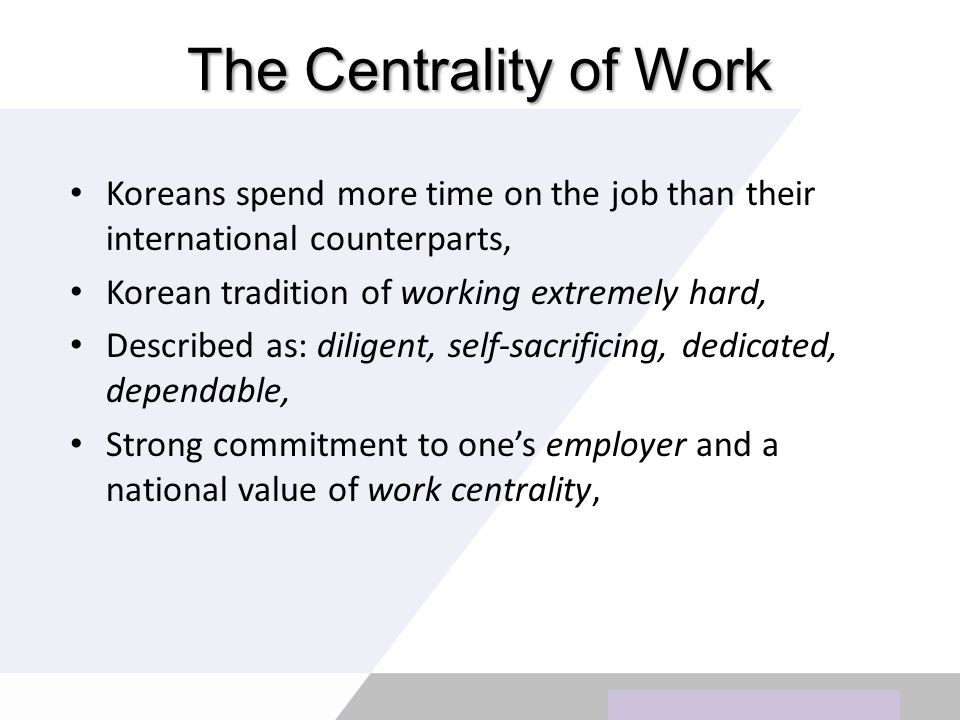 Copyright © Wondershare Software The Centrality of Work Koreans spend more time on the job than their international counterparts, Korean tradition of working extremely hard, Described as: diligent, self-sacrificing, dedicated, dependable, Strong commitment to ones employer and a national value of work centrality,