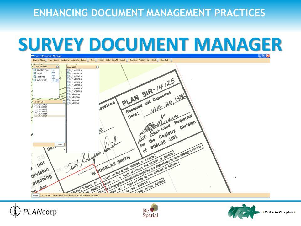 ENHANCING DOCUMENT MANAGEMENT PRACTICES SURVEY DOCUMENT MANAGER
