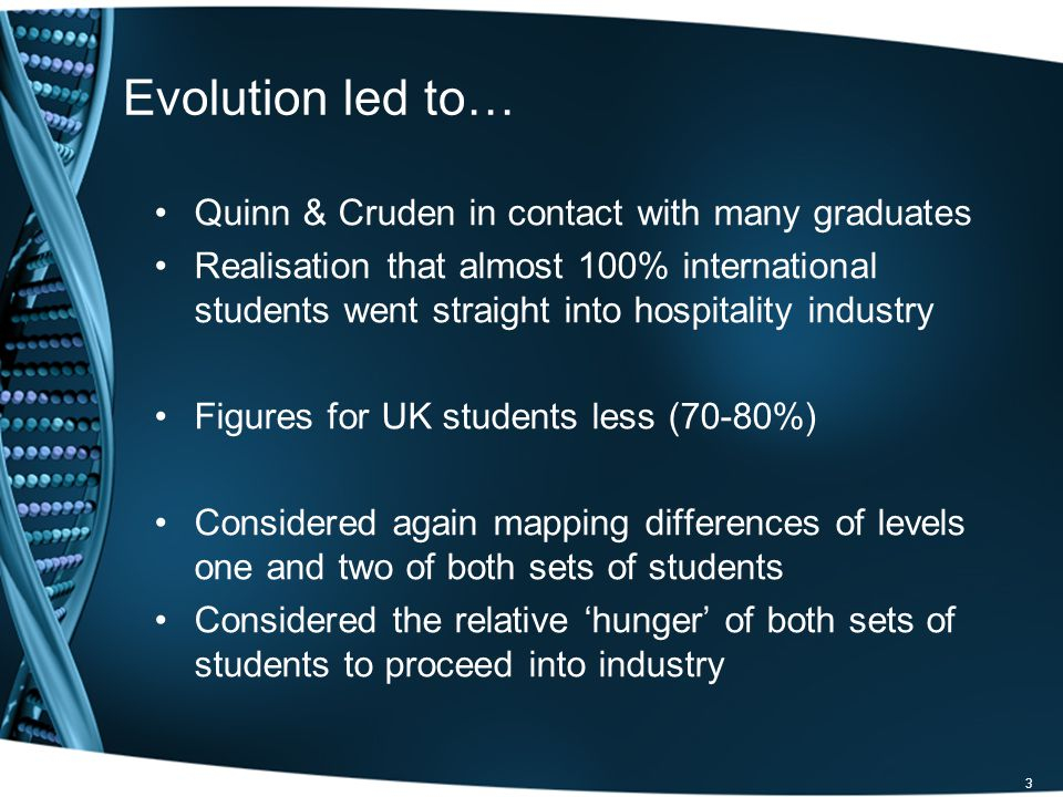3 Evolution led to… Quinn & Cruden in contact with many graduates Realisation that almost 100% international students went straight into hospitality industry Figures for UK students less (70-80%) Considered again mapping differences of levels one and two of both sets of students Considered the relative hunger of both sets of students to proceed into industry