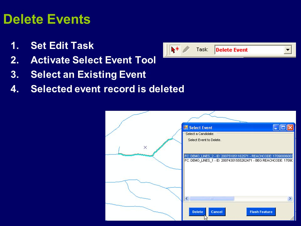 1.Set Edit Task 2.Activate Select Event Tool 3.Select an Existing Event 4.Selected event record is deleted Delete Events