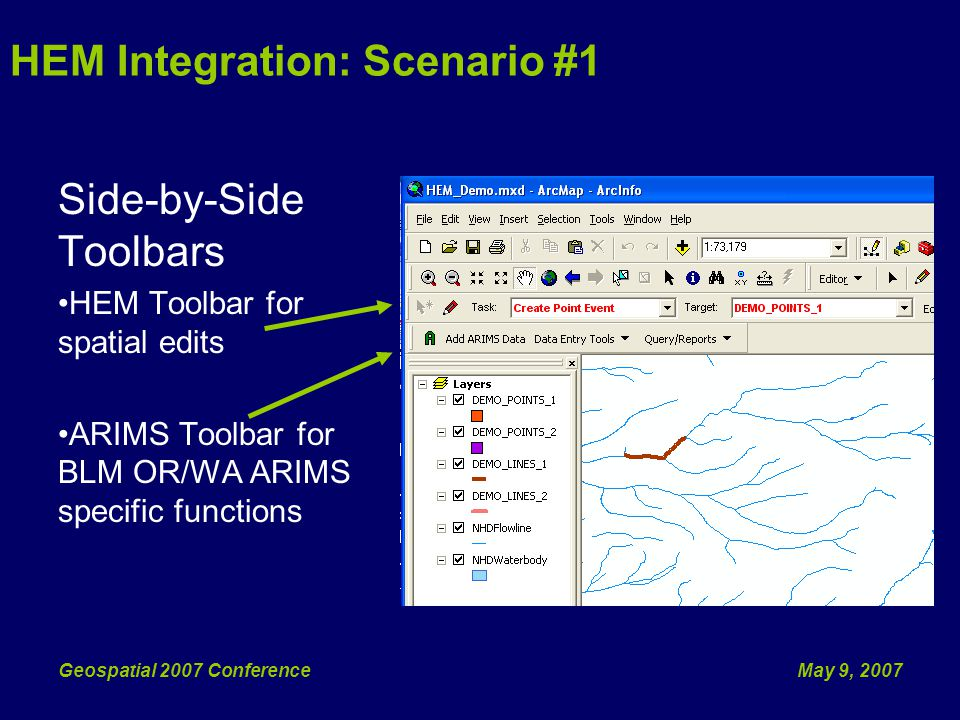 May 9, 2007Geospatial 2007 Conference Side-by-Side Toolbars HEM Toolbar for spatial edits ARIMS Toolbar for BLM OR/WA ARIMS specific functions HEM Integration: Scenario #1