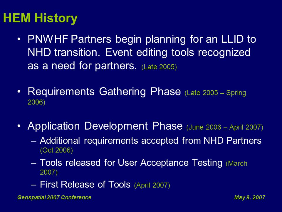 May 9, 2007Geospatial 2007 Conference Overview HEM Overview Event Data Tools Application Integration Whats Next?