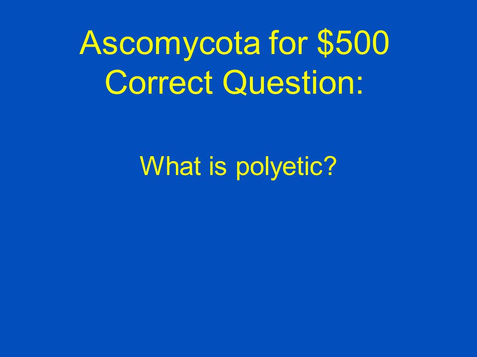 Ascomycota for $500 Type of epidemic caused by the Dutch elm disease and chestnut blight pathogens.