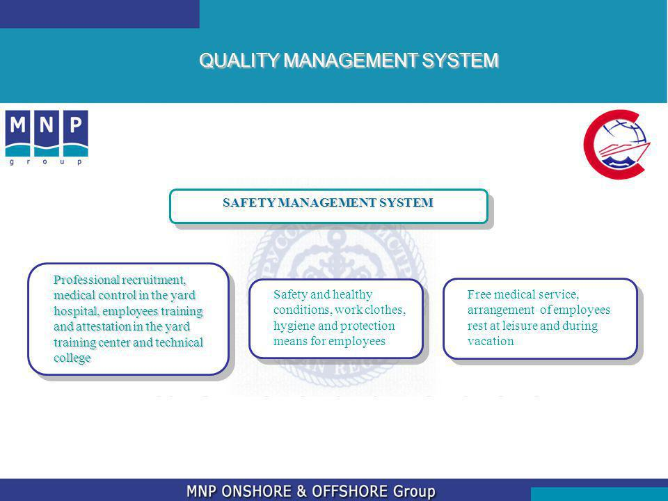 QUALITY MANAGEMENT SYSTEM SAFETY MANAGEMENT SYSTEM Professional recruitment, medical control in the yard hospital, employees training and attestation in the yard training center and technical college Safety and healthy conditions, work clothes, hygiene and protection means for employees Free medical service, arrangement of employees rest at leisure and during vacation