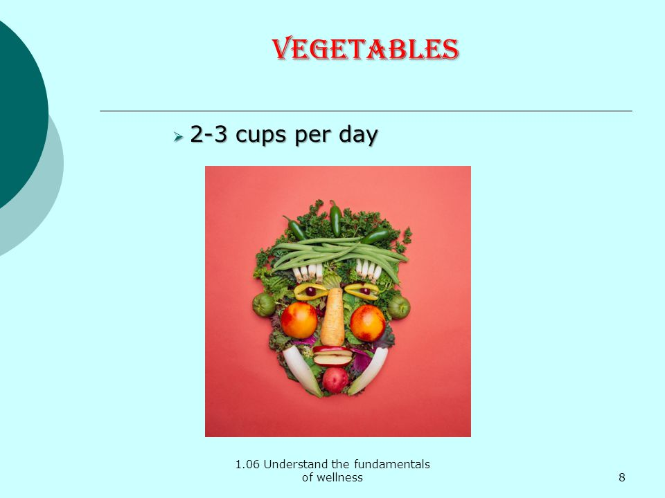 1.06 Understand the fundamentals of wellness Vegetables 2-3 cups per day 2-3 cups per day 8