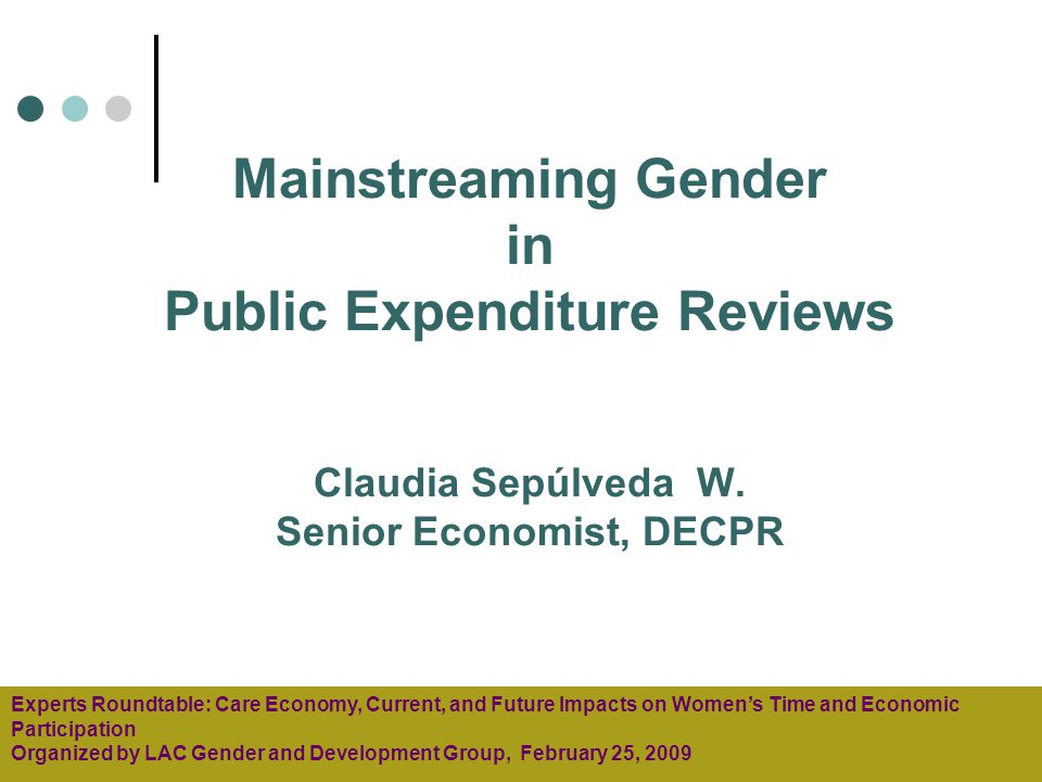 Mainstreaming Gender in Public Expenditure Reviews Claudia Sepúlveda W.