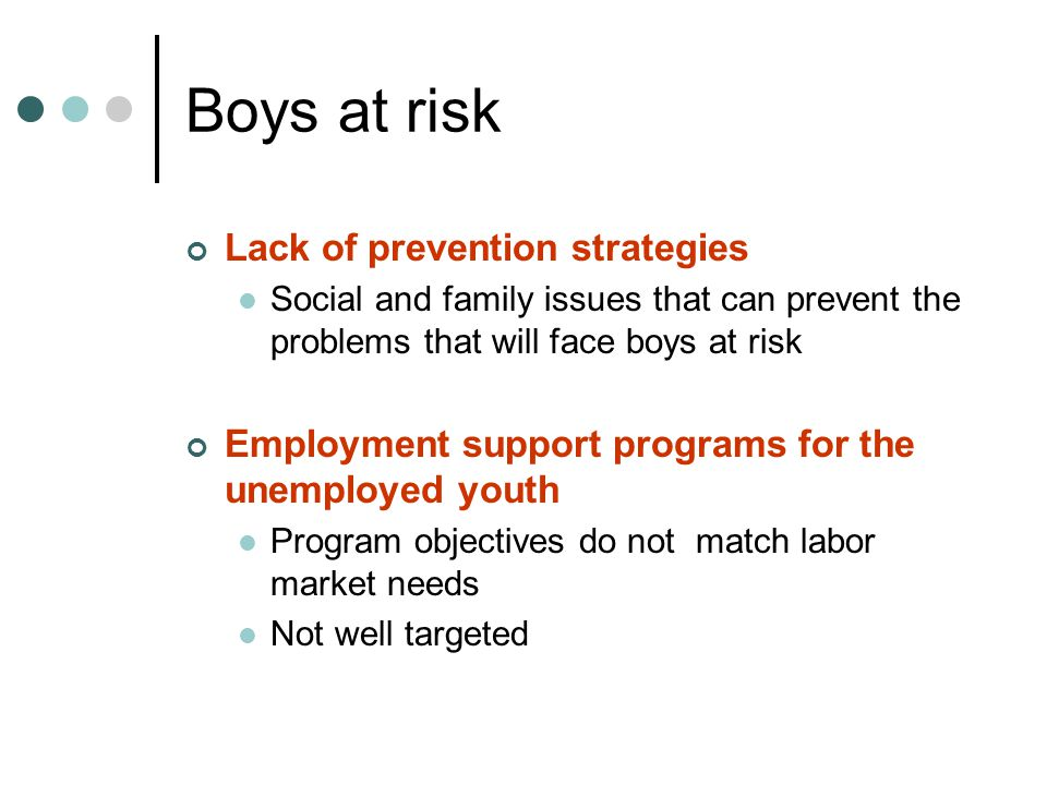Boys at risk Lack of prevention strategies Social and family issues that can prevent the problems that will face boys at risk Employment support programs for the unemployed youth Program objectives do not match labor market needs Not well targeted
