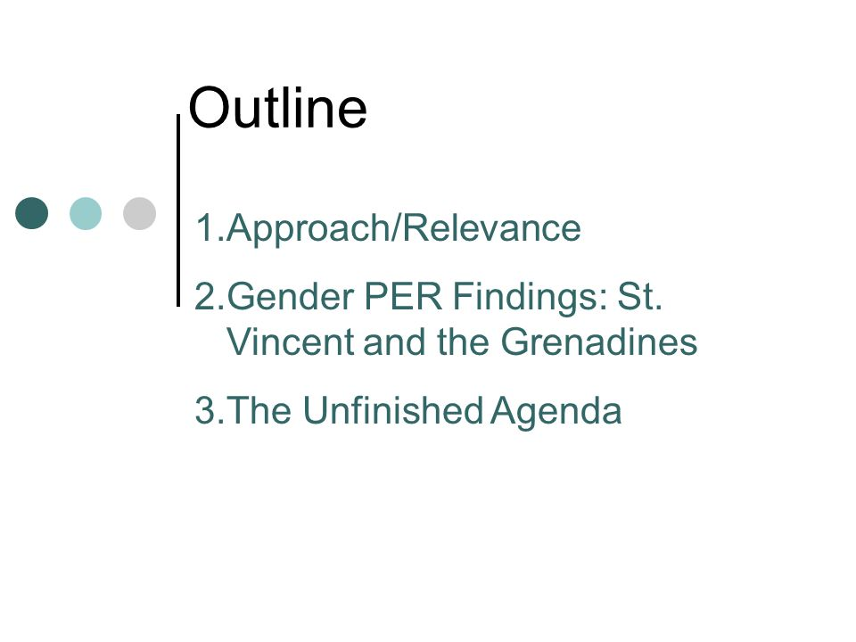Outline 1.Approach/Relevance 2.Gender PER Findings: St.