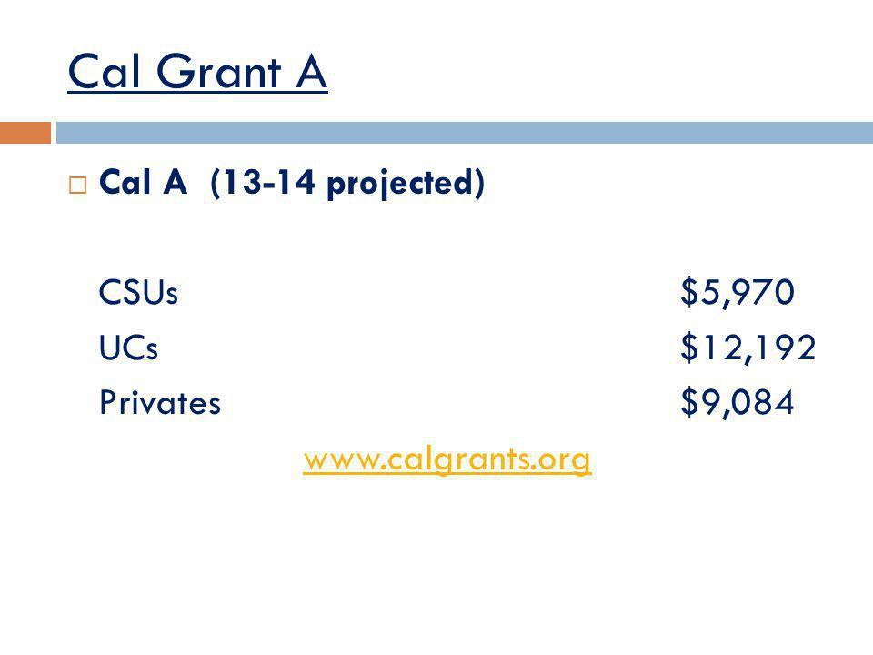 Cal Grant A Cal A (13-14 projected) CSUs$5,970 UCs$12,192 Privates$9,084 www.calgrants.org