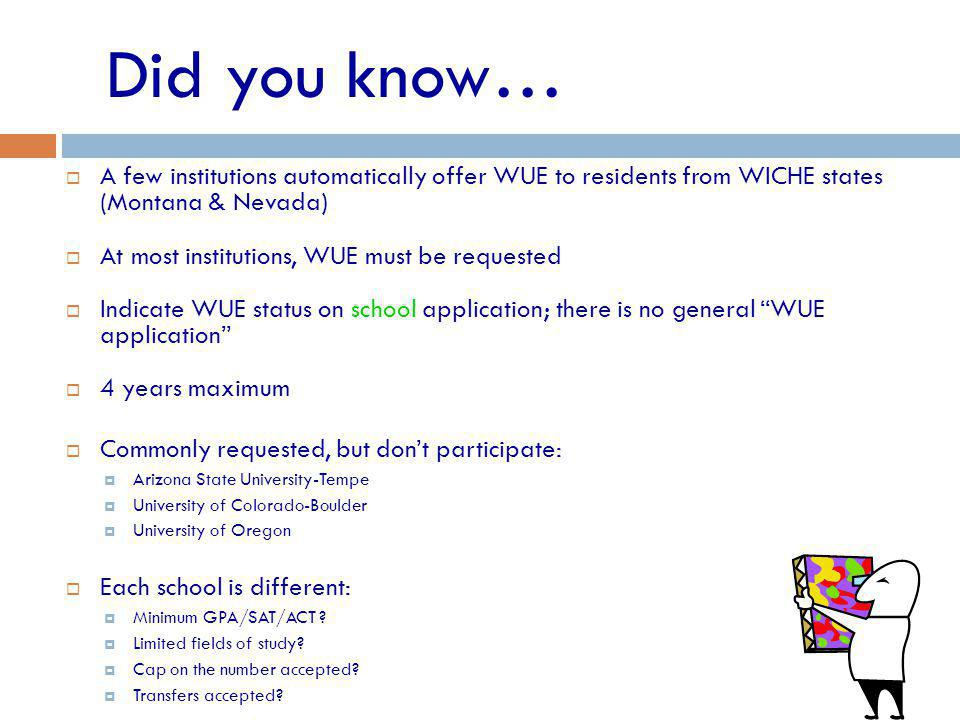 A few institutions automatically offer WUE to residents from WICHE states (Montana & Nevada) At most institutions, WUE must be requested Indicate WUE status on school application; there is no general WUE application 4 years maximum Commonly requested, but dont participate: Arizona State University-Tempe University of Colorado-Boulder University of Oregon Each school is different: Minimum GPA/SAT/ACT .