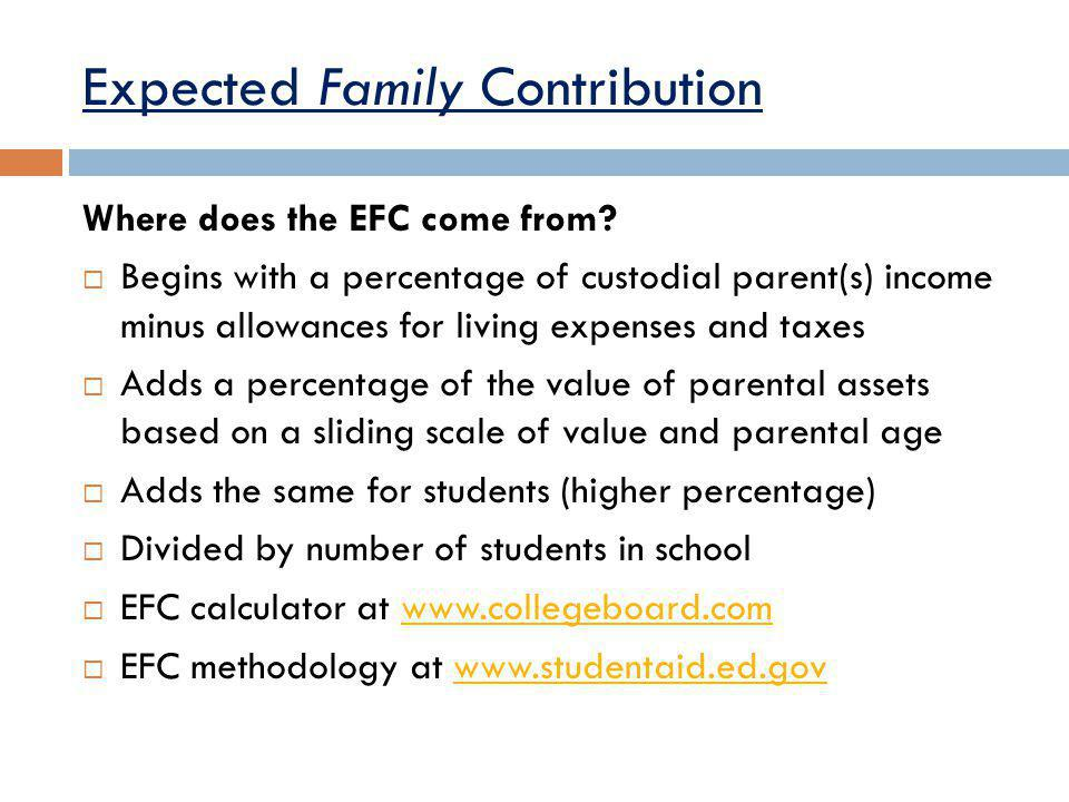 Expected Family Contribution Where does the EFC come from.