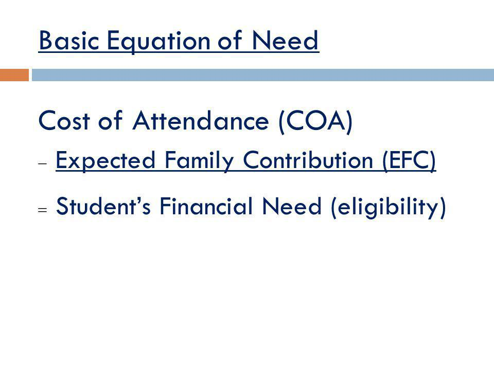 Basic Equation of Need Cost of Attendance (COA) Expected Family Contribution (EFC) Students Financial Need (eligibility)