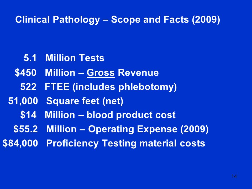 14 Clinical Pathology – Scope and Facts (2009) 5.1 Million Tests $450 Million – Gross Revenue 522 FTEE (includes phlebotomy) 51,000 Square feet (net) $14 Million – blood product cost $55.2 Million – Operating Expense (2009) $84,000 Proficiency Testing material costs