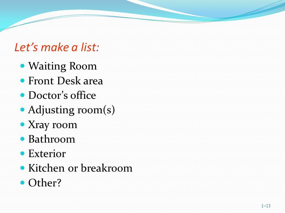 Lets make a list: Waiting Room Front Desk area Doctors office Adjusting room(s) Xray room Bathroom Exterior Kitchen or breakroom Other.
