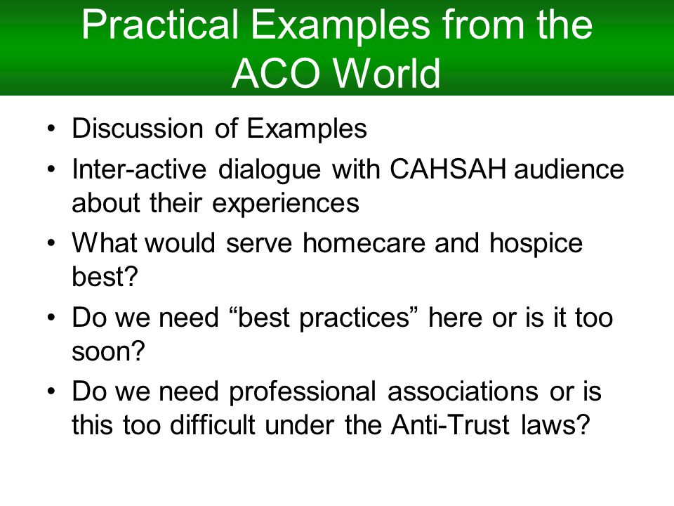 Practical Examples from the ACO World Discussion of Examples Inter-active dialogue with CAHSAH audience about their experiences What would serve homecare and hospice best.