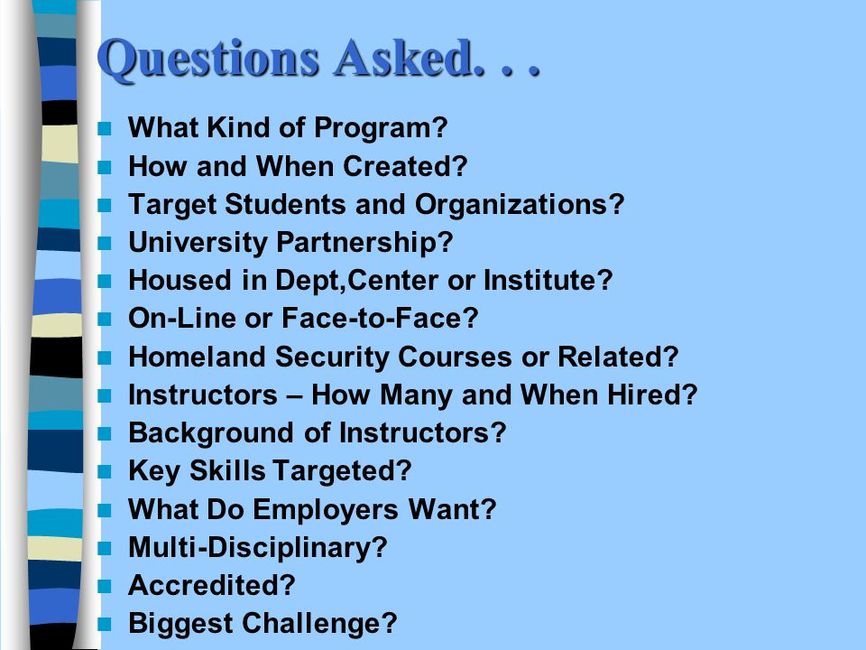 Questions Asked... What Kind of Program. How and When Created.