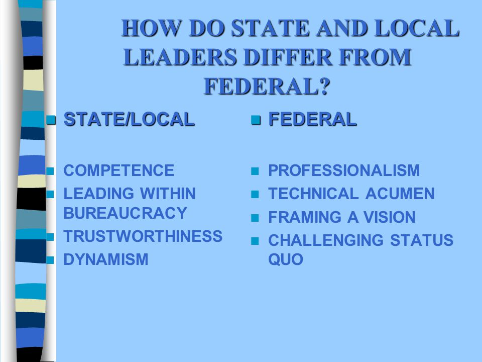 HOW DO STATE AND LOCAL LEADERS DIFFER FROM FEDERAL.