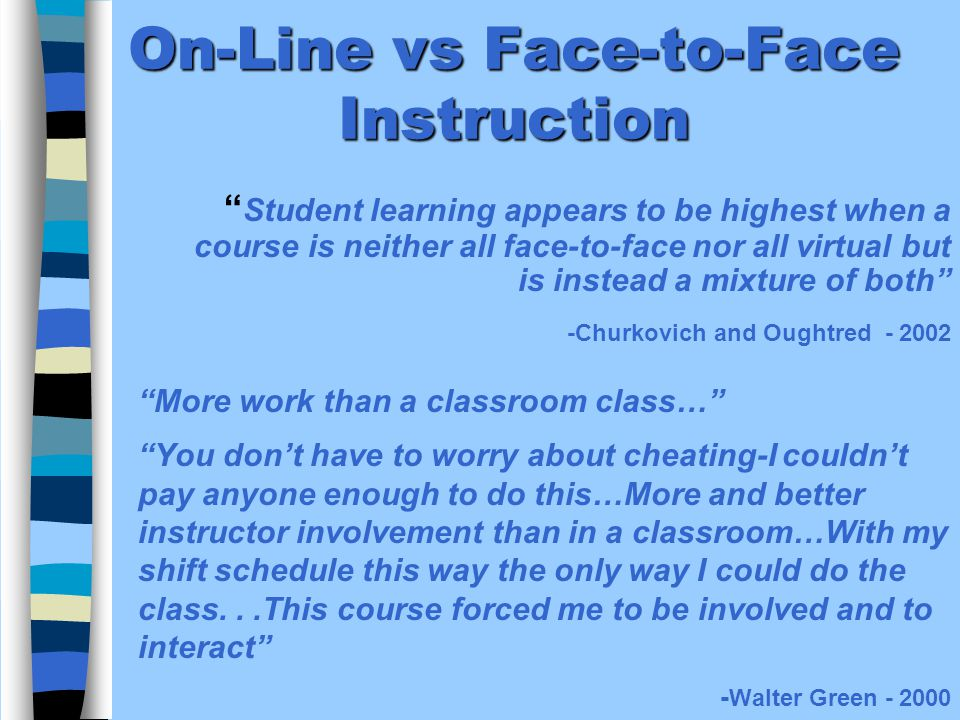 On-Line vs Face-to-Face Instruction More work than a classroom class… You dont have to worry about cheating-I couldnt pay anyone enough to do this…More and better instructor involvement than in a classroom…With my shift schedule this way the only way I could do the class...This course forced me to be involved and to interact - Walter Green - 2000 Student learning appears to be highest when a course is neither all face-to-face nor all virtual but is instead a mixture of both -Churkovich and Oughtred - 2002