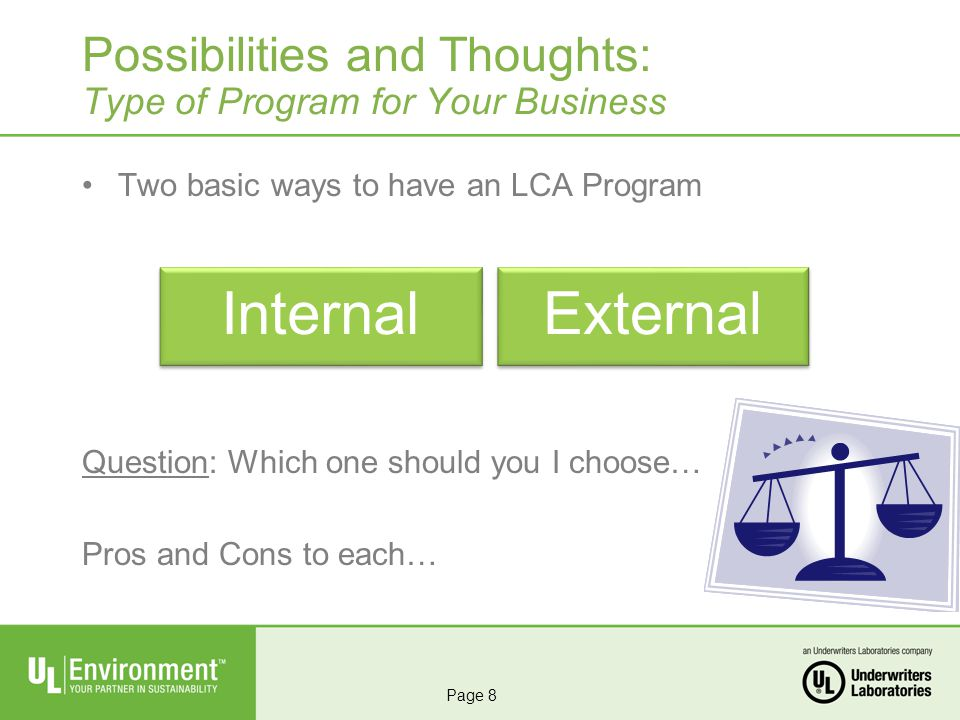 Two basic ways to have an LCA Program Question: Which one should you I choose… Pros and Cons to each… Possibilities and Thoughts: Type of Program for Your Business InternalExternal Page 8