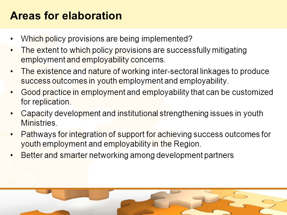Areas for elaboration Which policy provisions are being implemented.