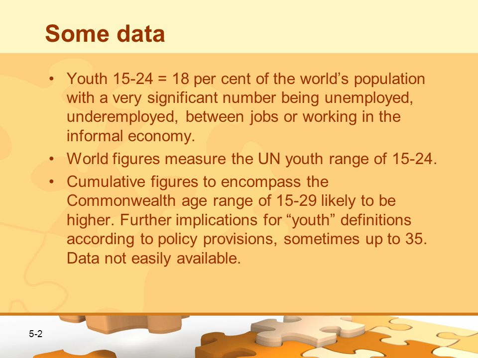 Some data Youth 15-24 = 18 per cent of the worlds population with a very significant number being unemployed, underemployed, between jobs or working in the informal economy.