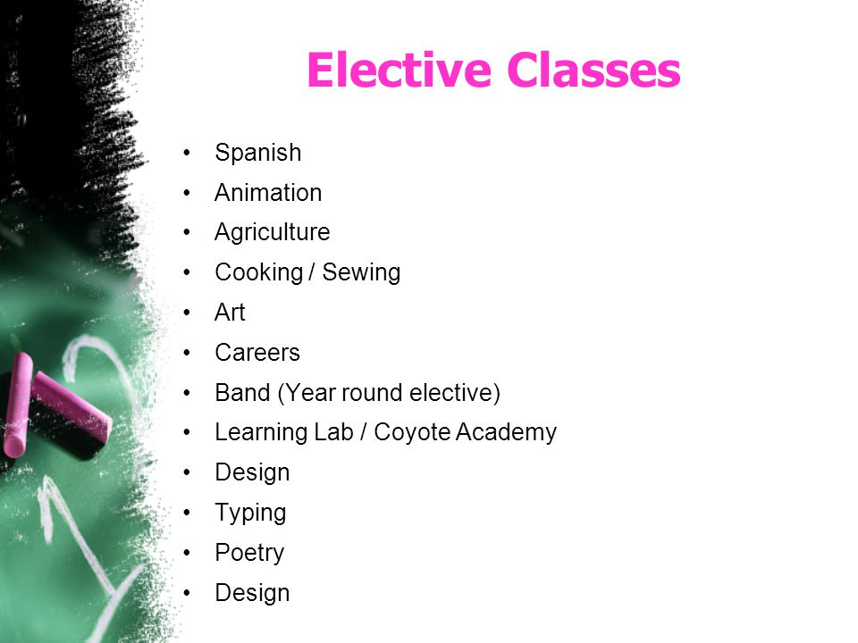 Elective Classes Spanish Animation Agriculture Cooking / Sewing Art Careers Band (Year round elective) Learning Lab / Coyote Academy Design Typing Poe