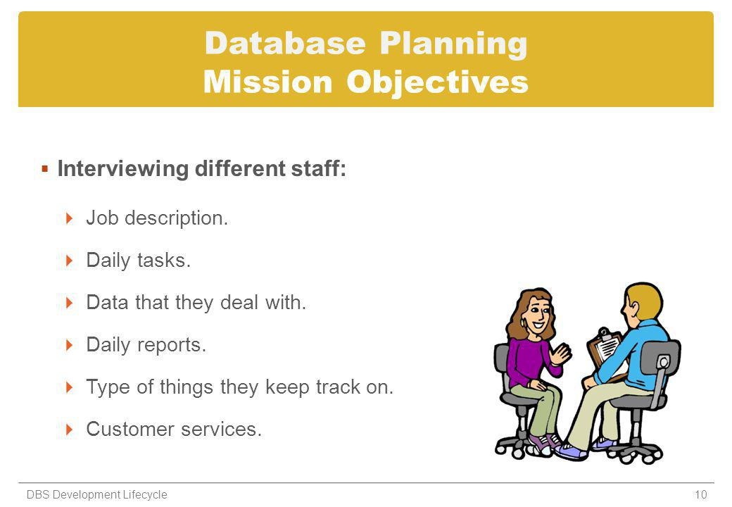 Database Planning Mission Objectives Interviewing different staff: Job description. Daily tasks. Data that they deal with. Daily reports. Type of thin