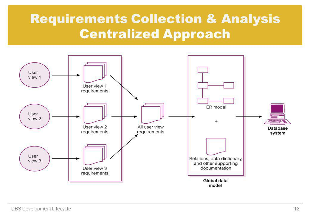 Requirements Collection & Analysis Centralized Approach 18DBS Development Lifecycle
