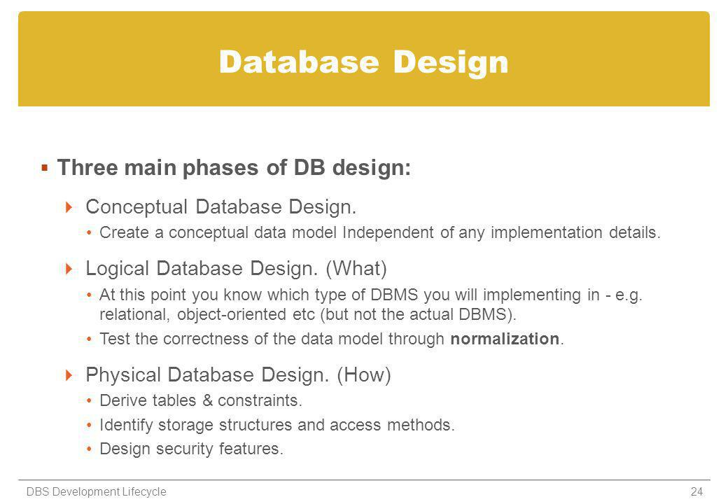 Database Design Three main phases of DB design: Conceptual Database Design.