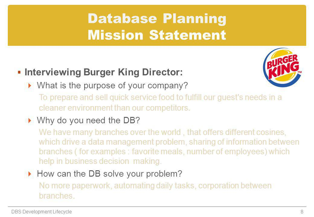 Database Planning Mission Statement Interviewing Burger King Director: What is the purpose of your company.
