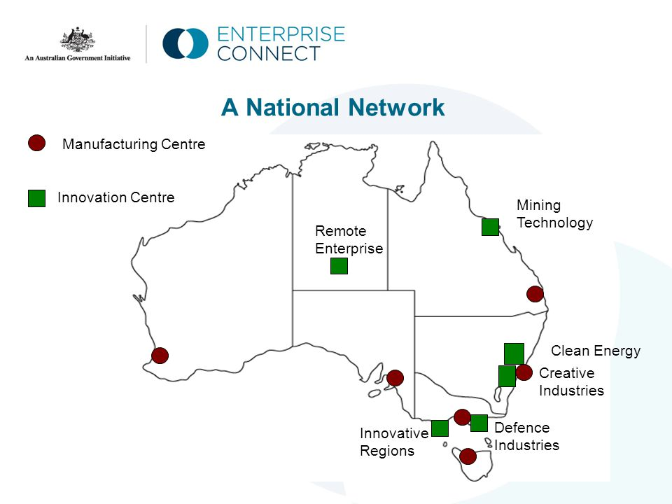 A National Network Innovation Centre Manufacturing Centre Remote Enterprise Mining Technology Creative Industries Defence Industries Innovative Regions Clean Energy