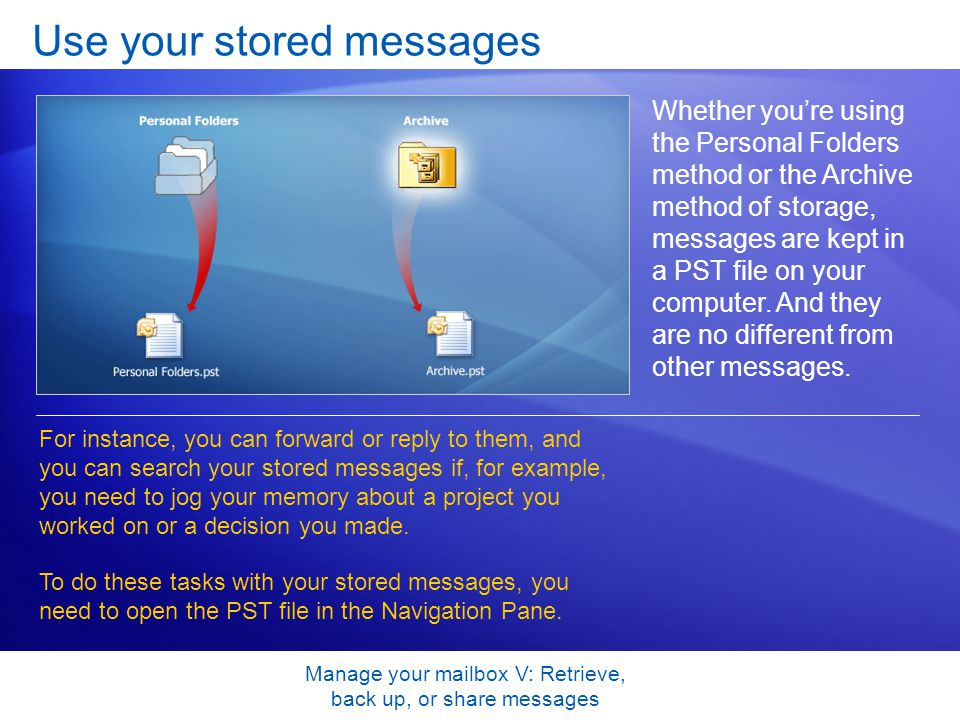 Manage your mailbox V: Retrieve, back up, or share messages Use your stored messages Whether youre using the Personal Folders method or the Archive method of storage, messages are kept in a PST file on your computer.