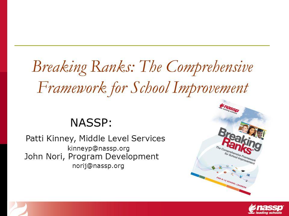 Breaking Ranks: The Comprehensive Framework for School Improvement NASSP: Patti Kinney, Middle Level Services kinneyp@nassp.org John Nori, Program Dev