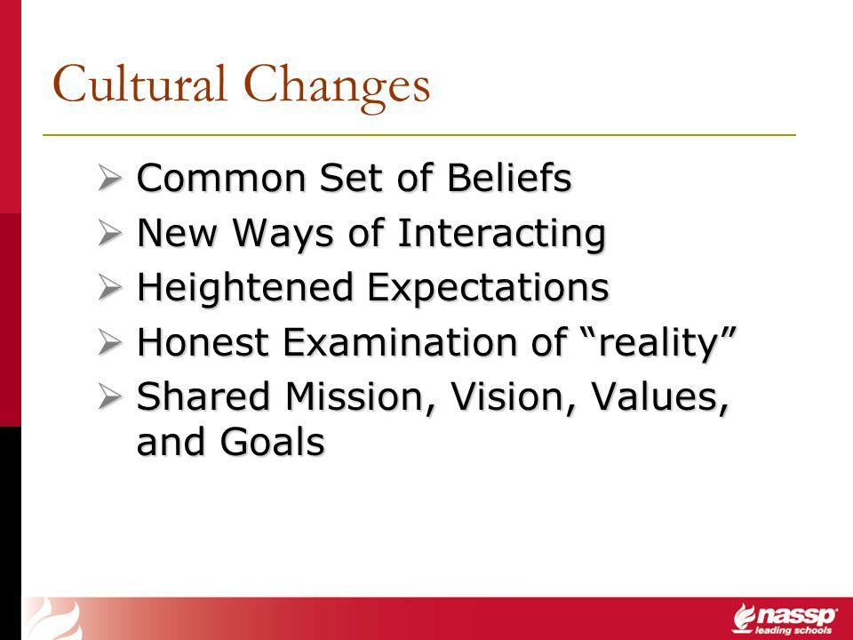 Common Set of Beliefs Common Set of Beliefs New Ways of Interacting New Ways of Interacting Heightened Expectations Heightened Expectations Honest Exa