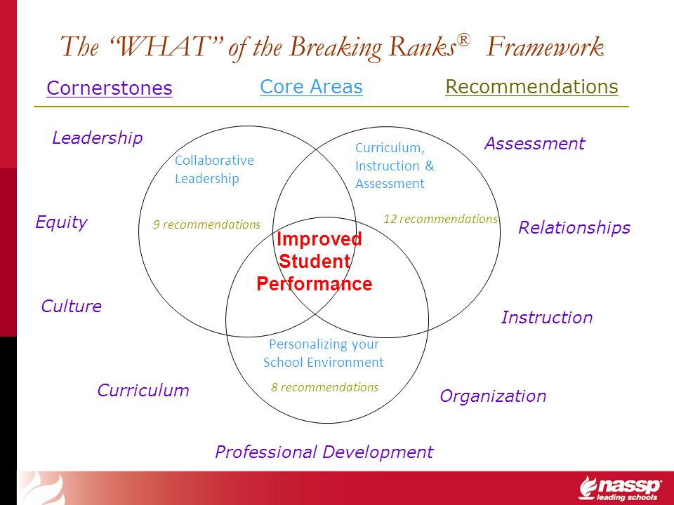 The WHAT of the Breaking Ranks ® Framework Collaborative Leadership Personalizing your School Environment Improved Student Performance Curriculum, Ins
