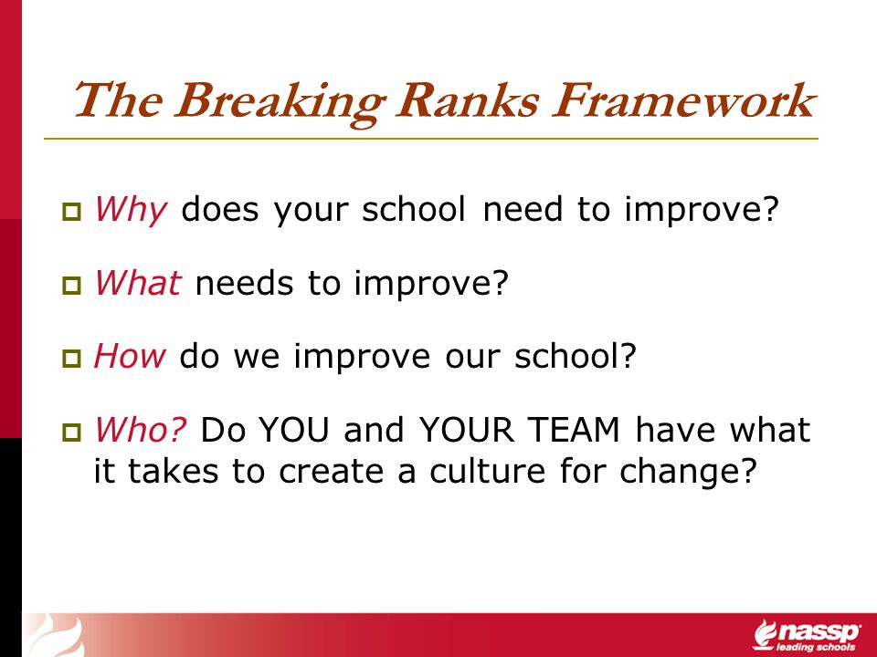 The Breaking Ranks Framework Why does your school need to improve? What needs to improve? How do we improve our school? Who? Do YOU and YOUR TEAM have